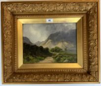 """Oil painting on canvas of mountain scene by S.E. Honley? 11.5"""" x 8.5"""", frame 20"""" x 17"""". Painting"""