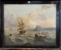 """Large oil painting of ships on canvas, unsigned. 35"""" x 27.5"""", frame 40.5"""" x 32.5"""". Damaged with 4"""