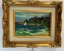 """Oil painting """"Blue Waters, Antigua"""", 6.5"""" x 4.5"""", frame 10.5"""" x 8.5"""". Signed Bernstein? Good"""