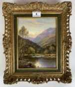 """Oil painting """"Capel Curig, North Wales"""" by A.A. Glendening, 6.5"""" x 8.25"""", frame 12"""" x 10"""". Gallery"""