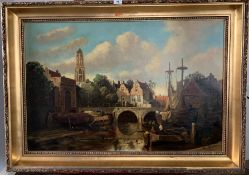 Large oil painting of Dutch Town Scene, Amsterdam on canvas, possibly Signed W.J. Burksen