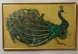 """Framed peacock picture made with feathers and materials on hessian background. 40"""" x 25"""". Good"""