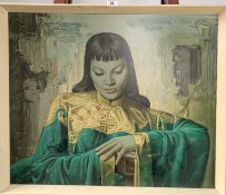 """Print on board, """"Lady from the Orient"""" by V. Tretchikoff, 27"""" x 22.5"""", frame 29"""" x 24.5"""". Print good"""