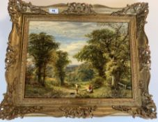 """Oil painting """"Near Sevenoaks"""" by A.A. Glendening 1872. 15.5"""" x 11.5"""", frame 20.5"""" x 16.5"""". Gallery"""