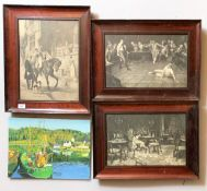 """3 framed etchings, each 15.5"""" x 11.5"""", frame 20.5"""" x 16"""" and oil on board of harbour scene,"""