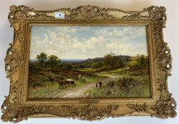 """Oil painting """"Farningham, Kent"""" by A.A. Glendening 1893. 15.5"""" x 9.5"""", frame 20"""" x 14"""". Gallery"""
