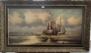 """Oil painting on canvas of boats, signature indecipherable. 39"""" x 19"""", frame 46"""" x 27"""". Good"""