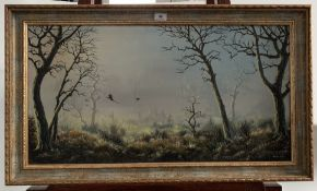 """Oil painting on canvas of birds in woodland by Charles Comber. 29.5"""" x 15.5"""", frame 33.5"""" x 19.5""""."""