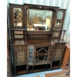 "Inlaid antique mirrorback cabinet. 75"" high, 60"" wide, 18"" depth"