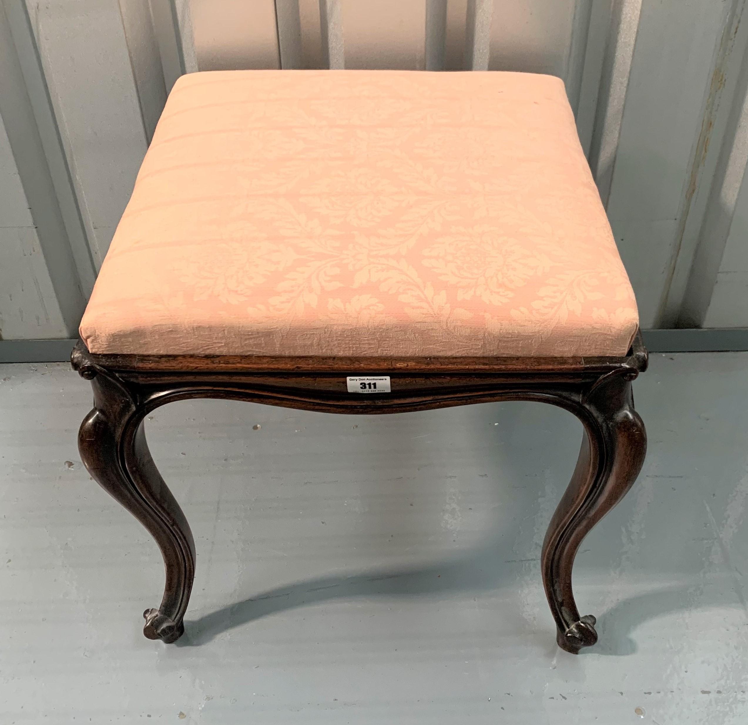 "Mahogany cabriole leg upholstered stool. 18"" square, 18"" high"