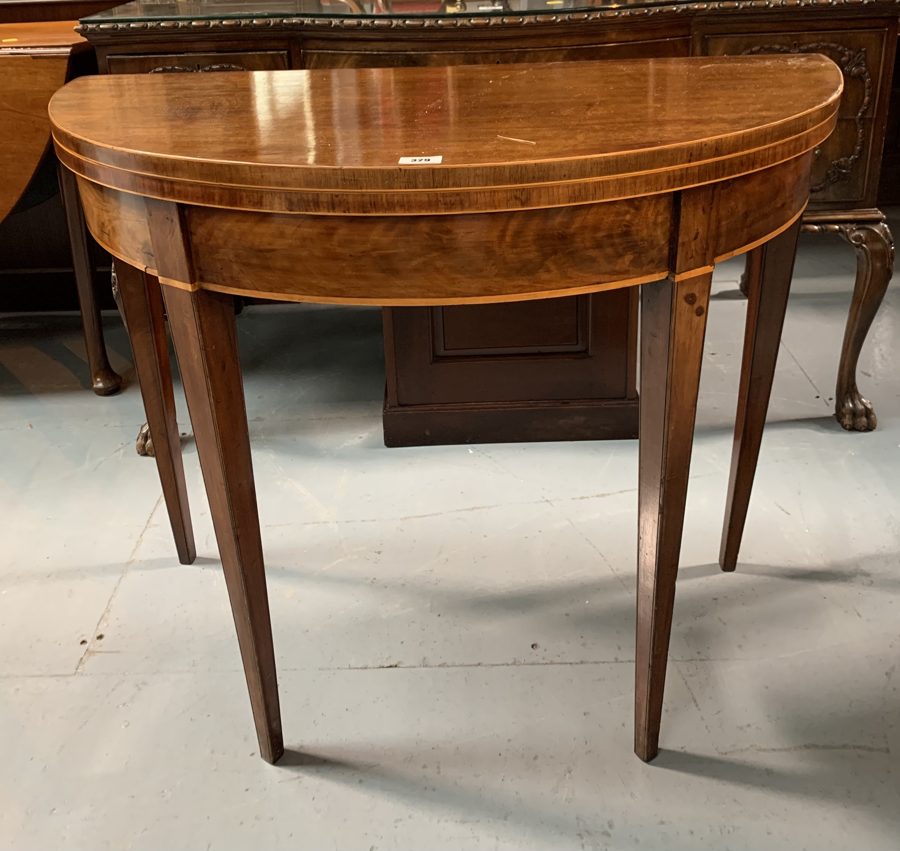 """Demi lune turnover top card table with baize interior, 36"""" wide open, 17.5"""" closed, 36"""" long, 29"""" - Image 2 of 6"""