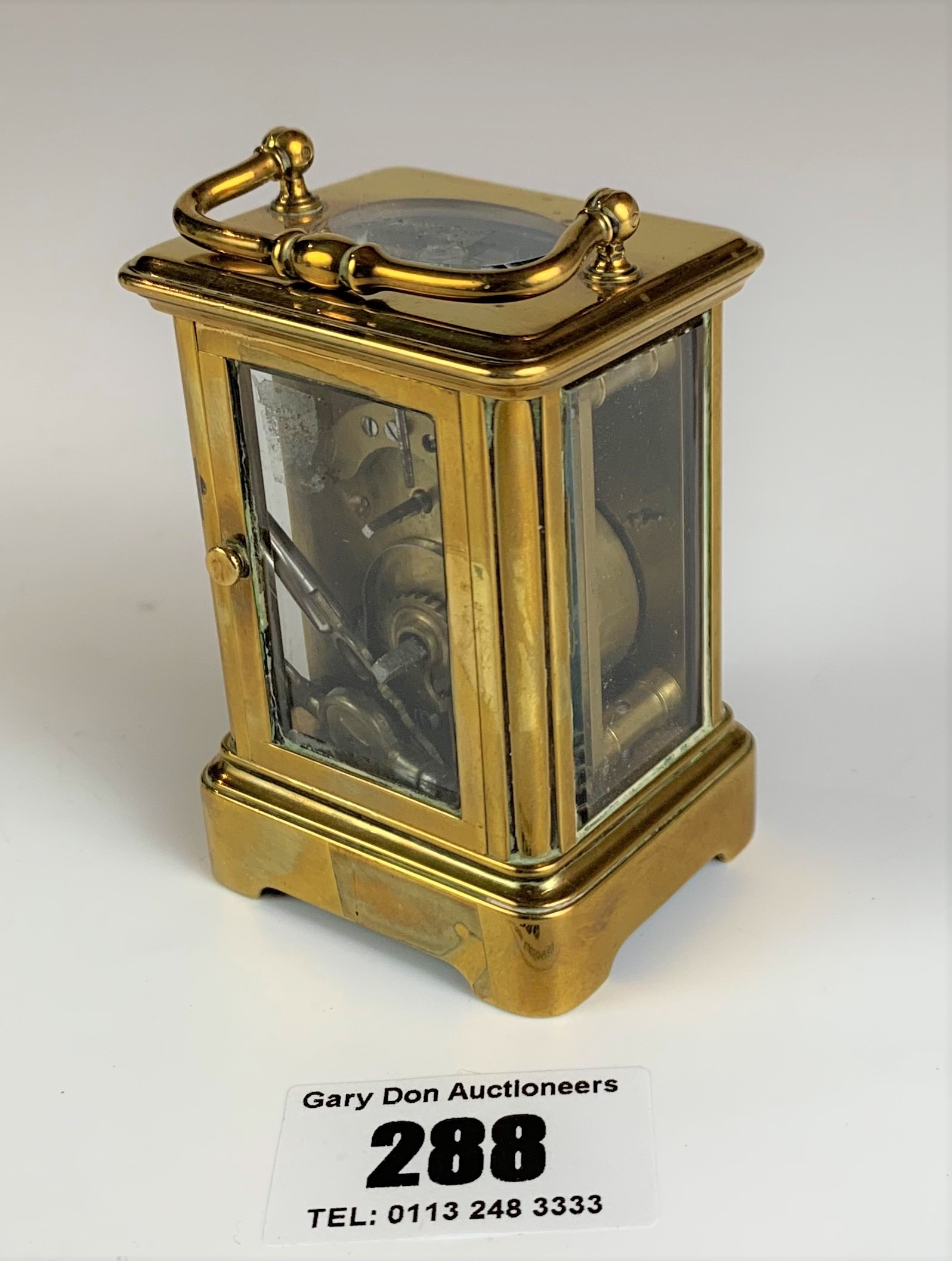 """Miniature brass carriage clock, 3"""" high plus handle. Working with key - Image 3 of 9"""