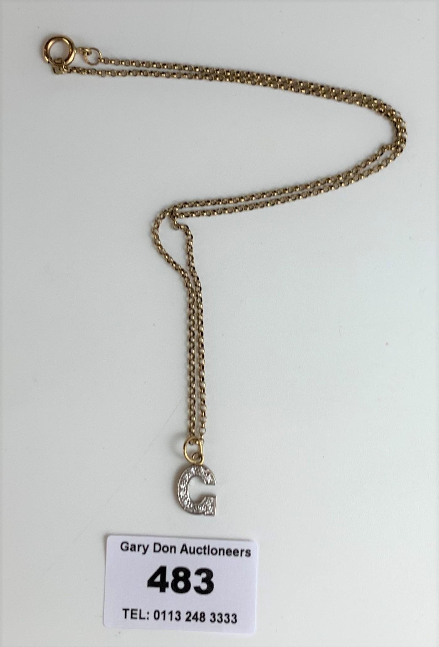 """9k gold necklace with G pendant, length 16"""" plus .5"""" pendant, w: 3.4 gms"""