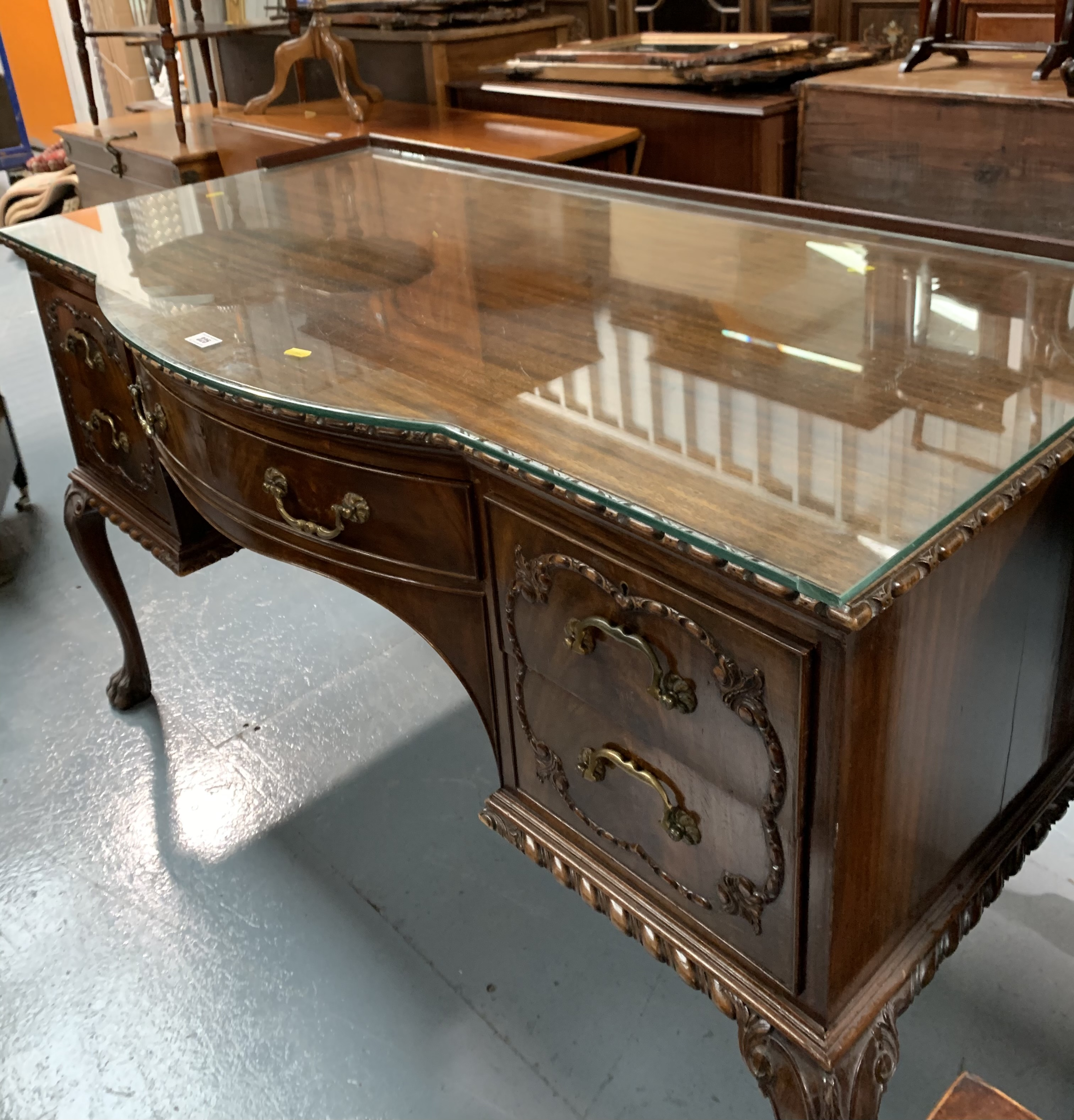 """Bow fronted claw/ball foot sideboard with glass top and 5 drawers 50"""" wide, 26"""" deep, 31"""" high - Image 6 of 6"""