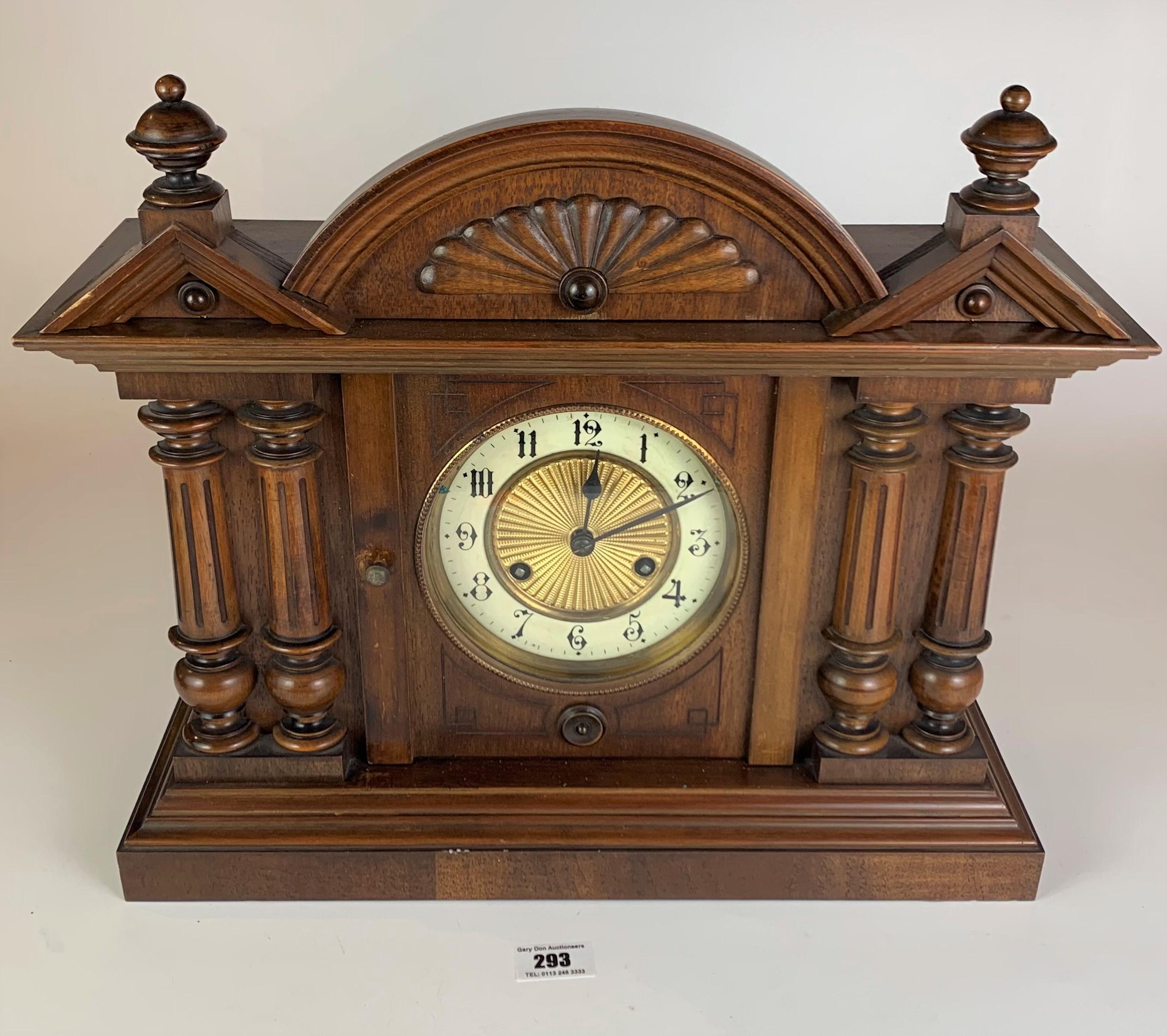 "Antique mantle clock, 14.5"" high, 16.5"" wide"