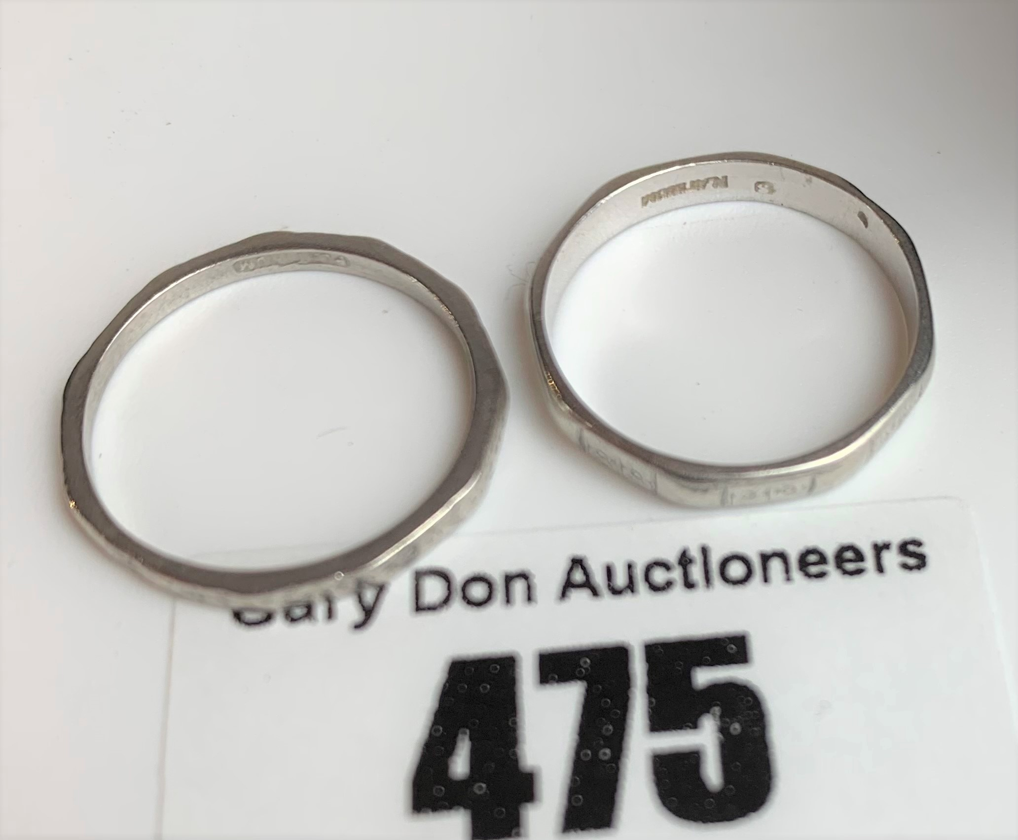 2 platinum wedding bands, sizes L and M, total w: 4.8 gms - Image 5 of 6