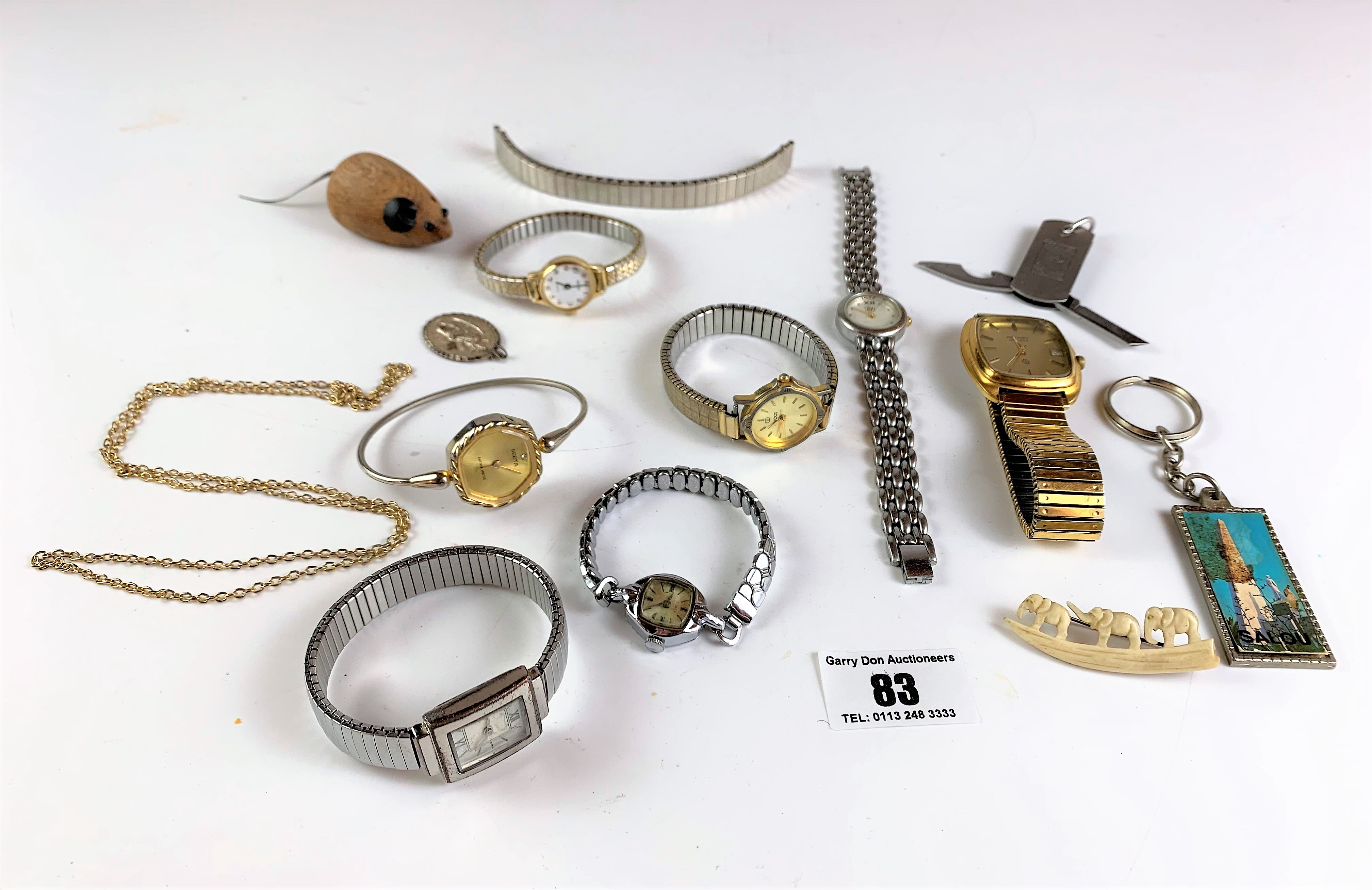 Bag of assorted dress watches, necklaces, keyrings and wooden mouse