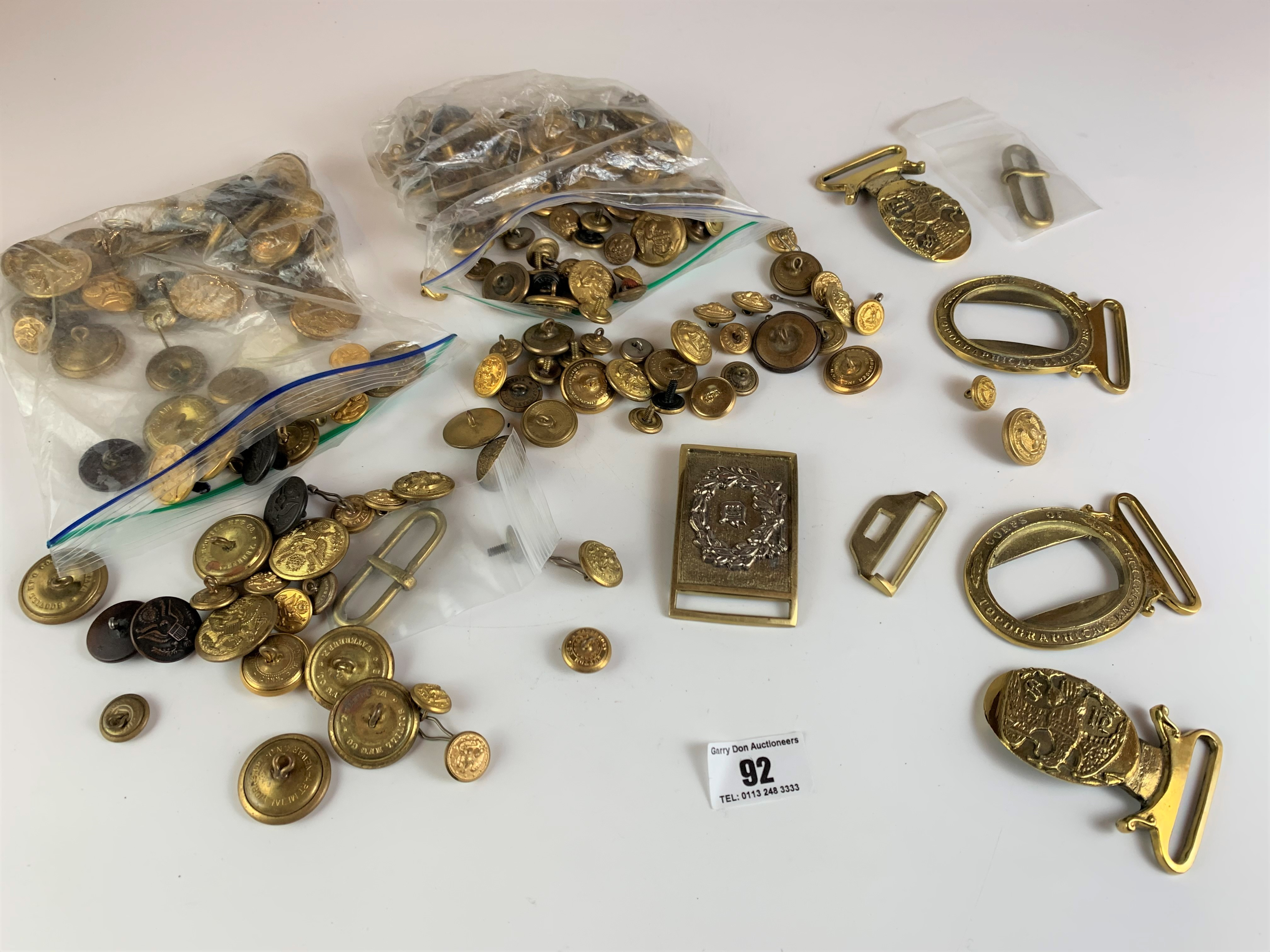 Large bag of assorted brass buttons and belt buckles
