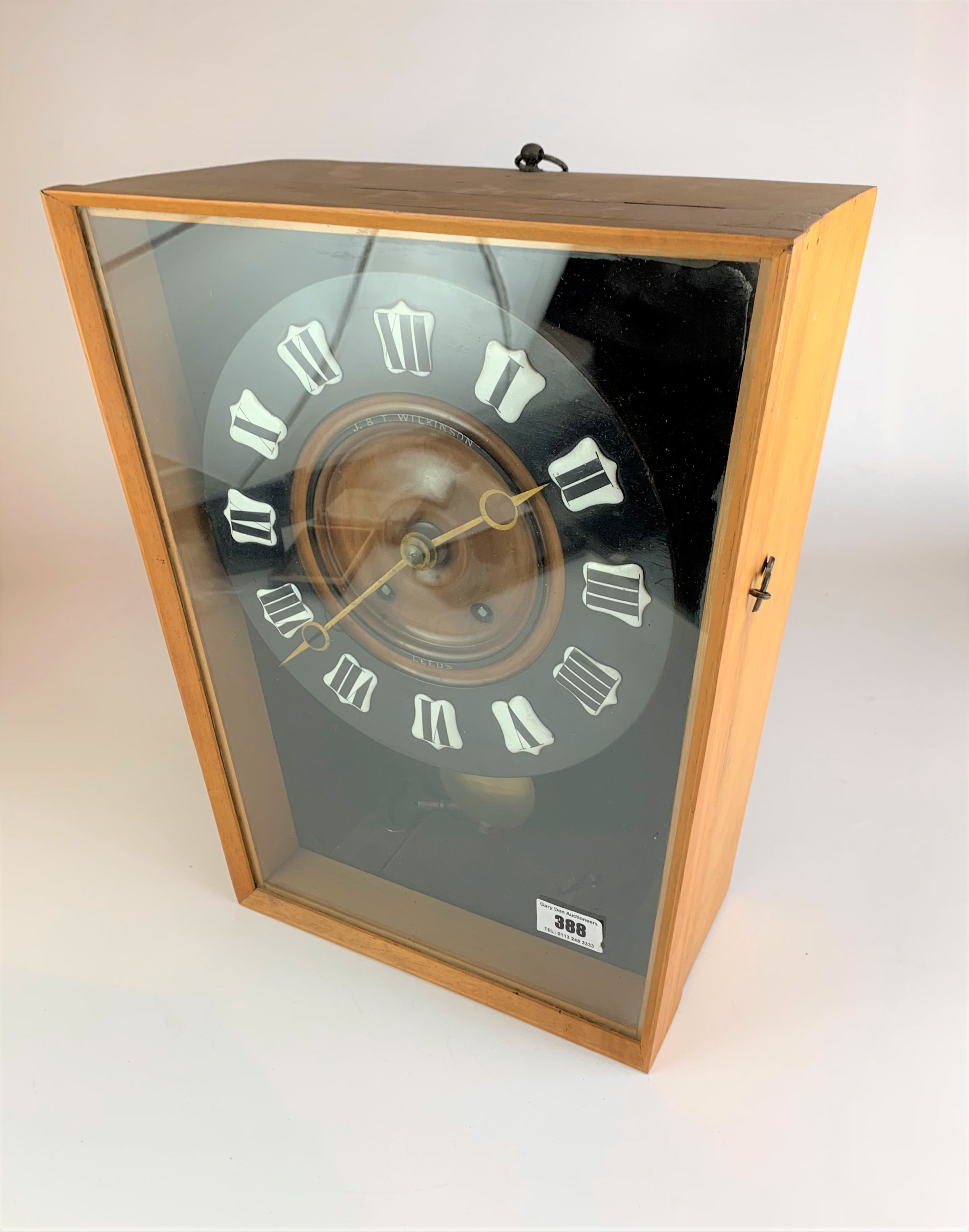 """Unusual wall clock by J & T Wilkinson, Leeds with pendulum and key, 15"""" high x 13"""" wide - Image 3 of 4"""