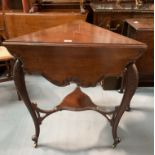 """Mahogany carved envelope table on castors. 25"""" per side closed, 31"""" open diameter, 29"""" high"""