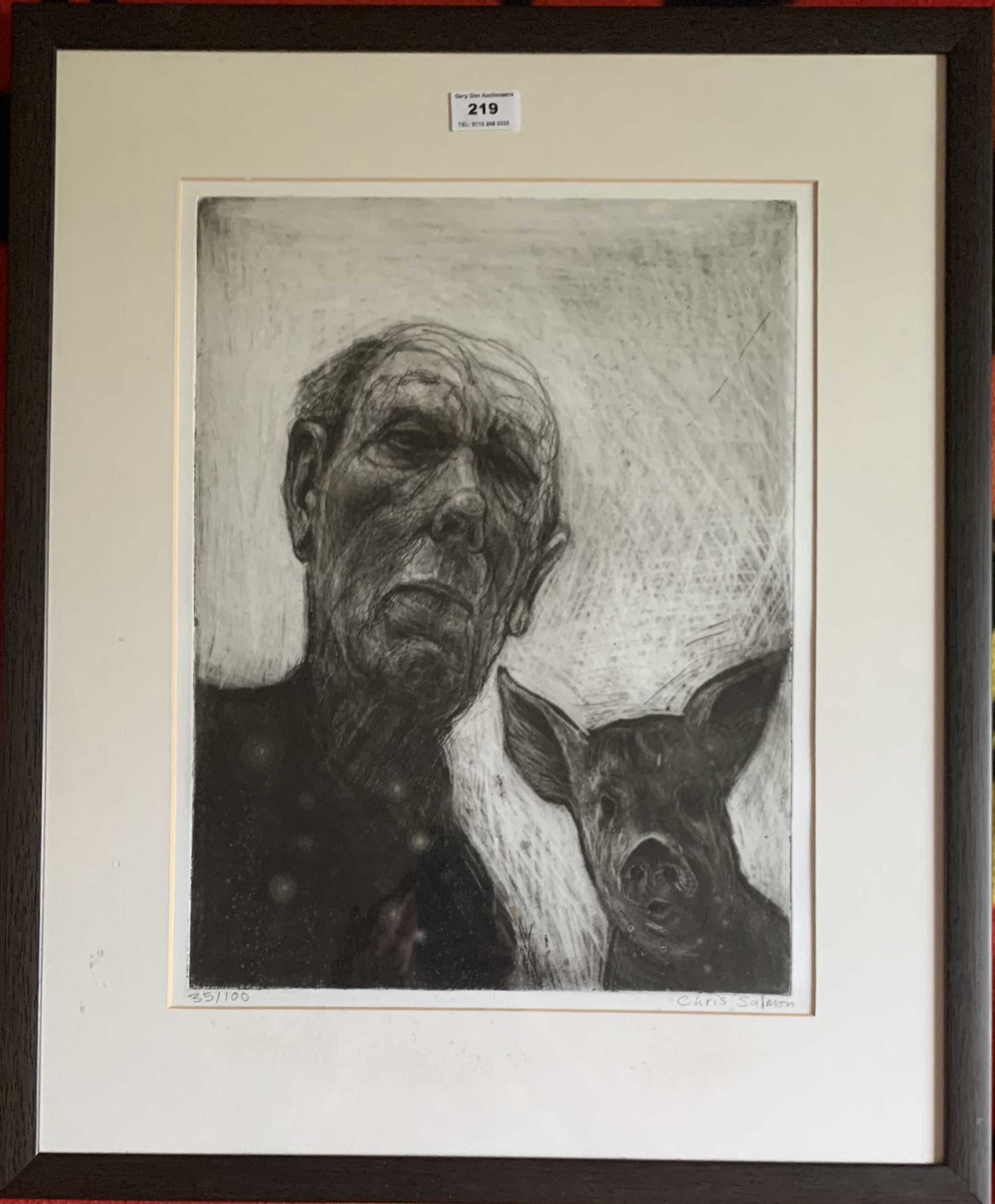"""Chris Salmon limited edition print, man and pig. Signed and numbered 35/100. Image 12"""" x 16"""","""