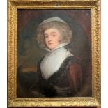 """Oil painting on canvas, portrait of woman 'Mrs. Delawney', unsigned. Image 25"""" x 30"""", frame 31"""" x"""