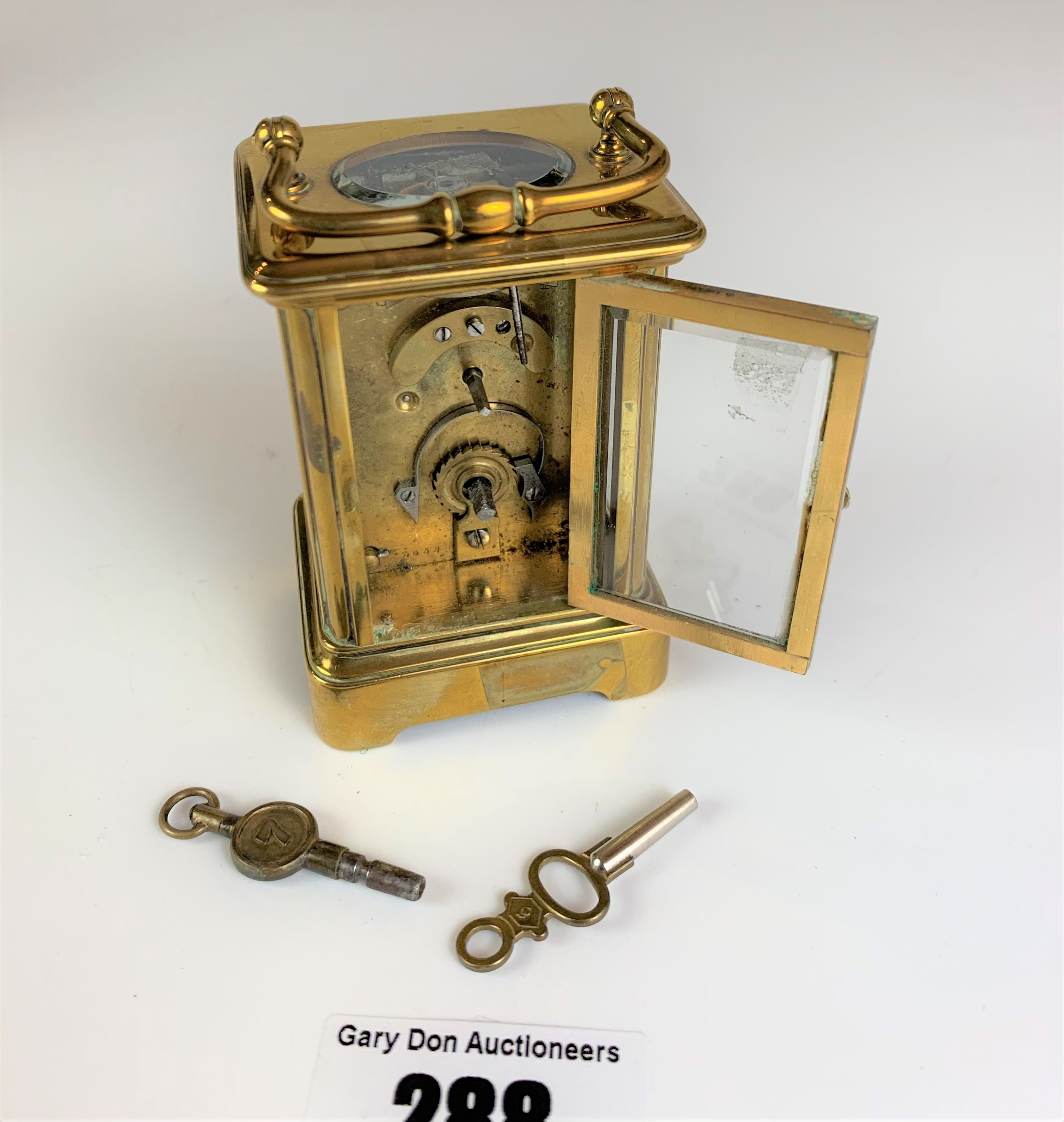 """Miniature brass carriage clock, 3"""" high plus handle. Working with key - Image 7 of 9"""