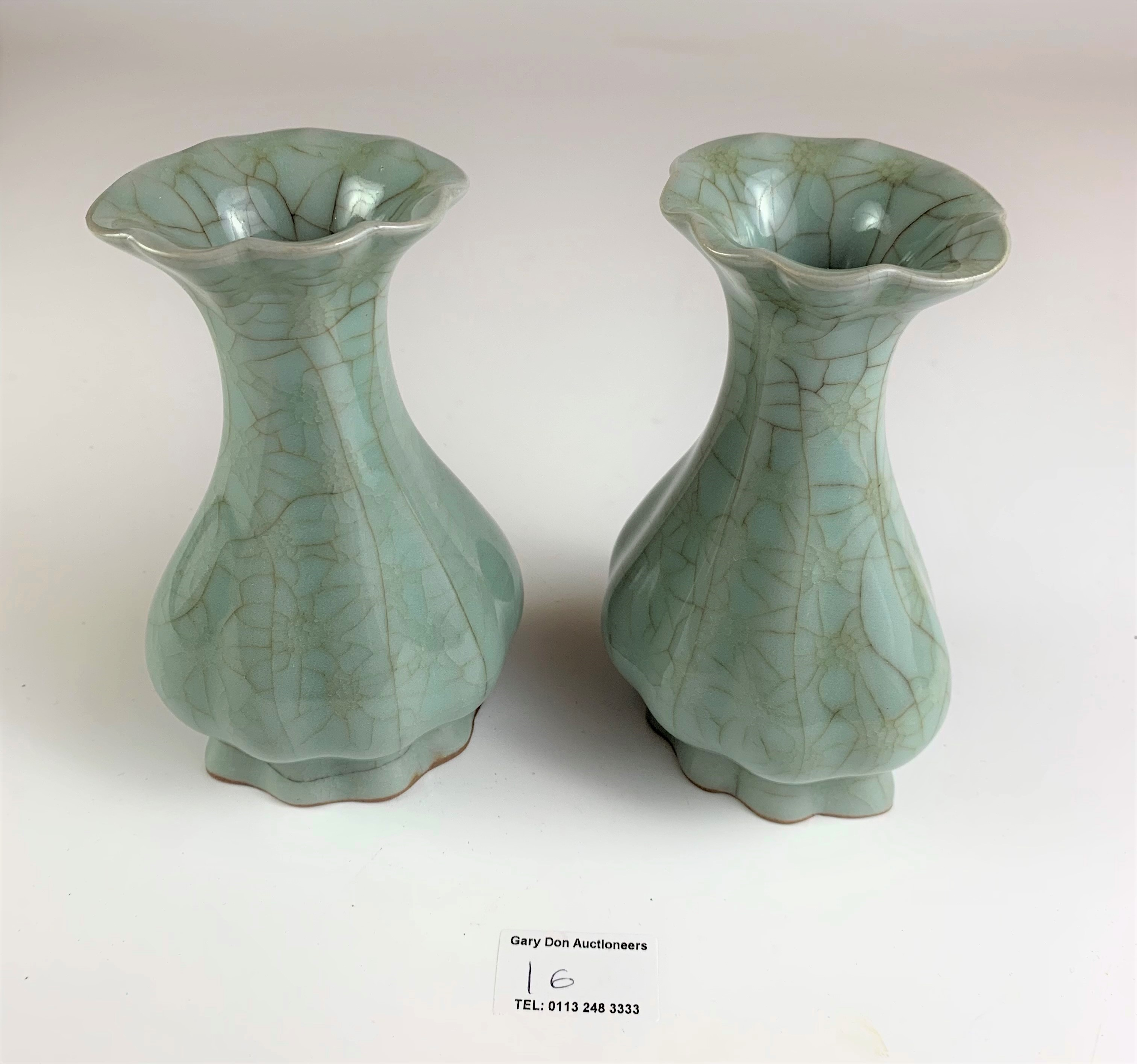 """Pair of Chinese vases in wooden presentation box marked Longquan Royal Kiln China. Vases 6"""" high, - Image 4 of 8"""