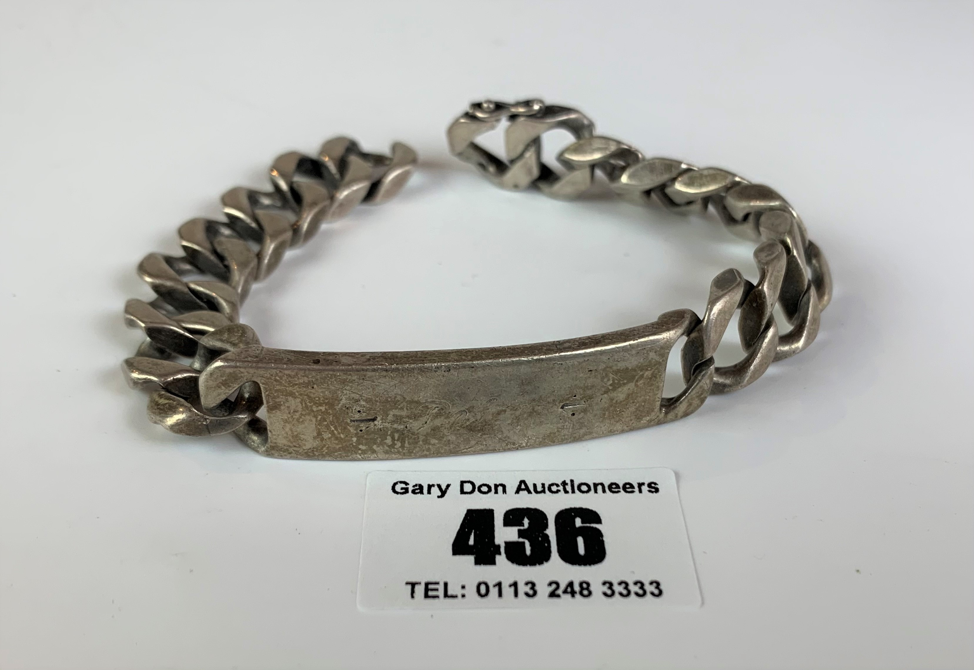 """Silver ID bracelet, inscribed 'Peter', length 9"""", w: 2.1 ozt - Image 2 of 5"""