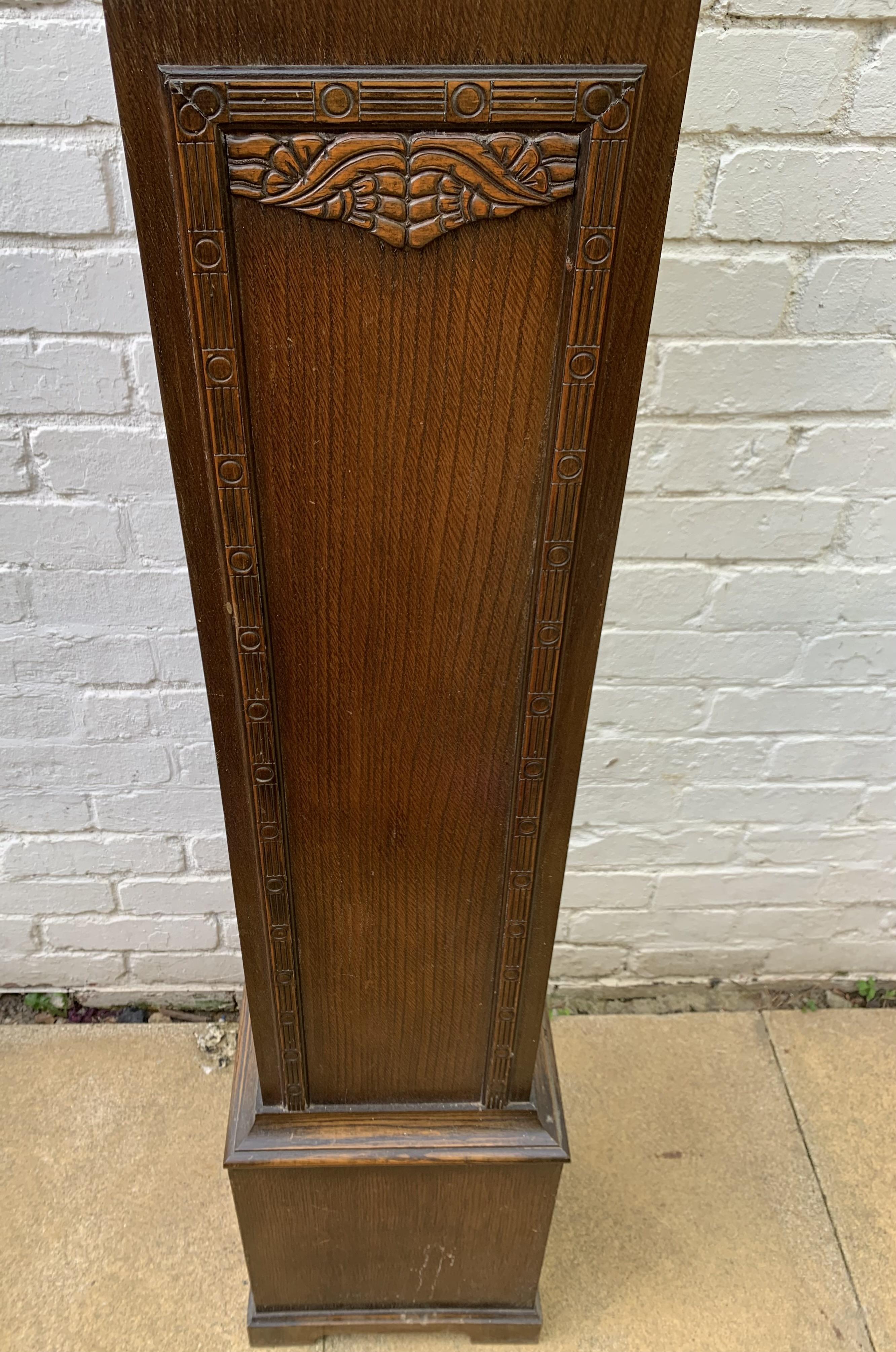 "Oak longcase grandmother clock with brass face, pendulum, key and single weight. Not working. 64"" - Image 2 of 9"
