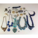 Large bag of assorted dress jewellery including necklaces, bracelets, earrings etc.