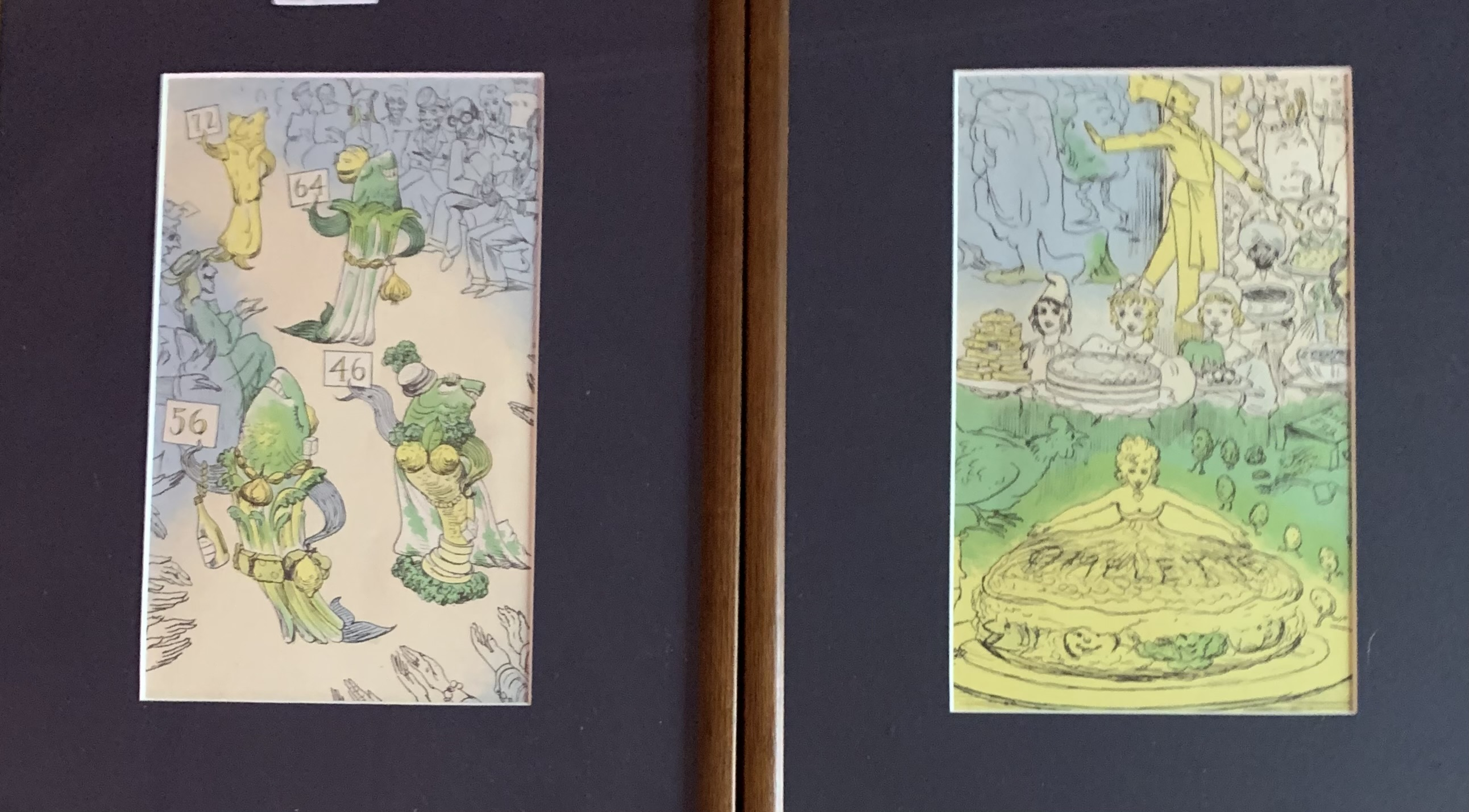 """Set of 5 cartoon style pictures, unsigned. Images 5"""" x 8"""", frames 10"""" x 13.5"""""""