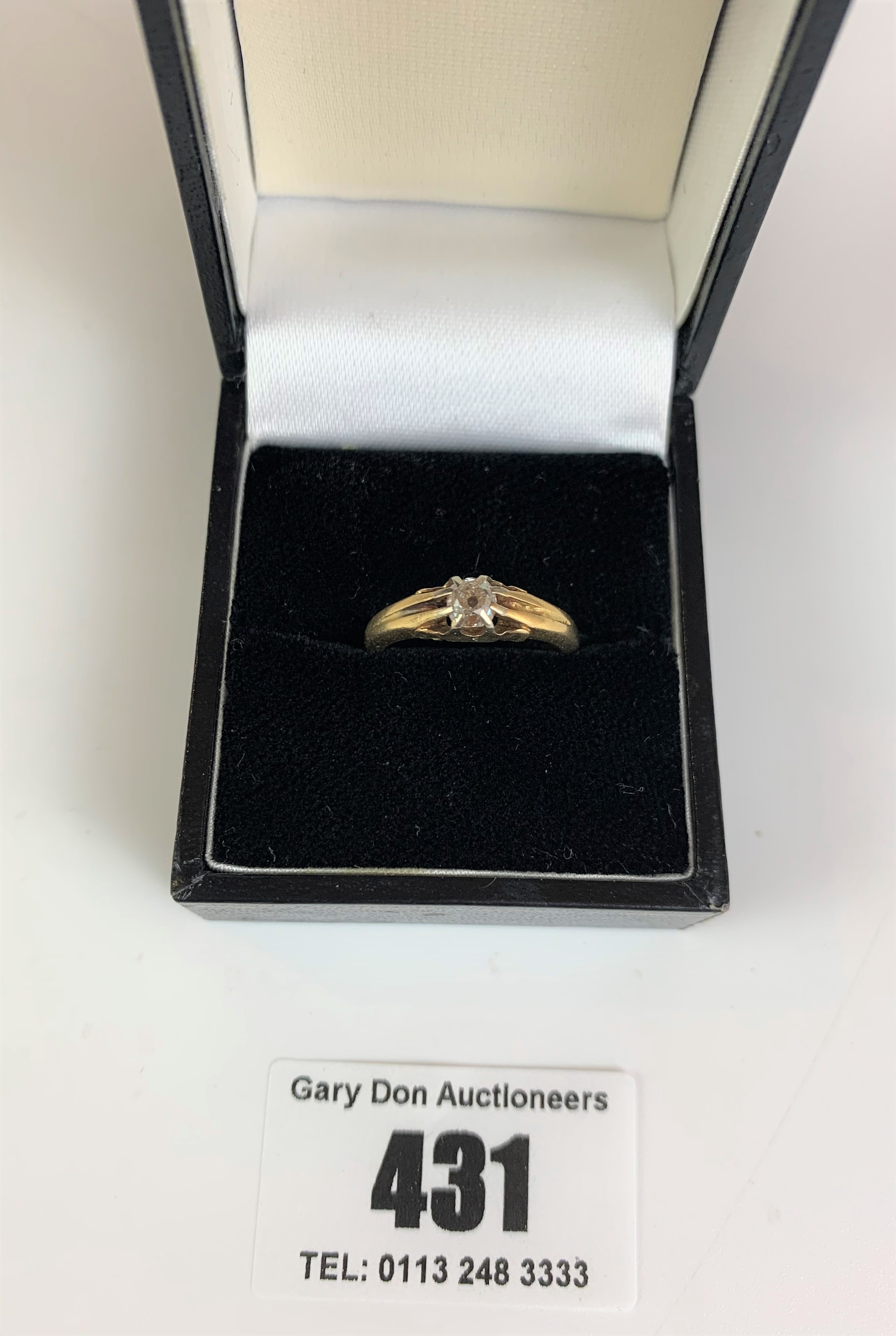 18k gold and diamond solitaire ring, size K, w: 4.1 gms - Image 2 of 5