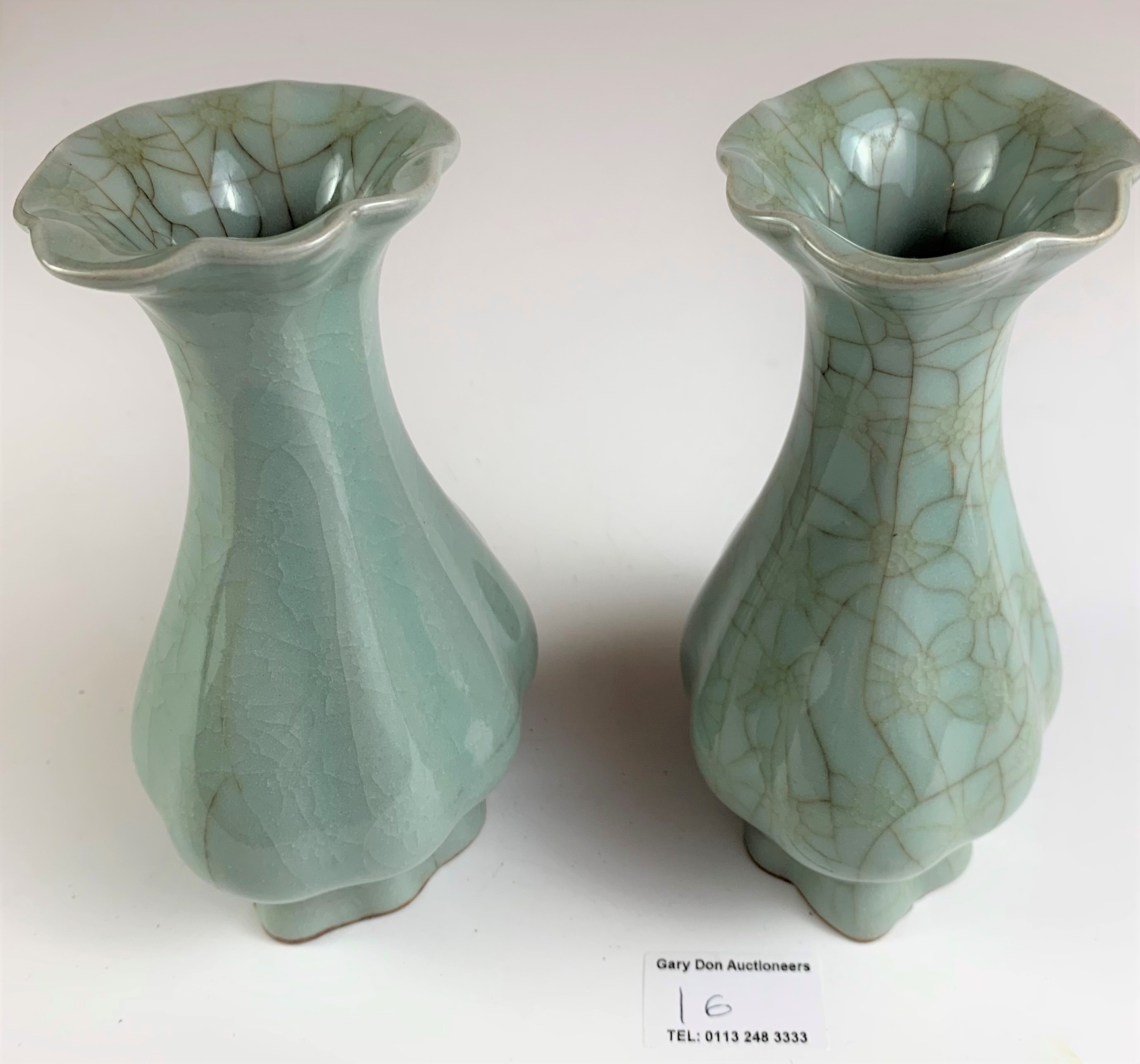 """Pair of Chinese vases in wooden presentation box marked Longquan Royal Kiln China. Vases 6"""" high, - Image 7 of 8"""