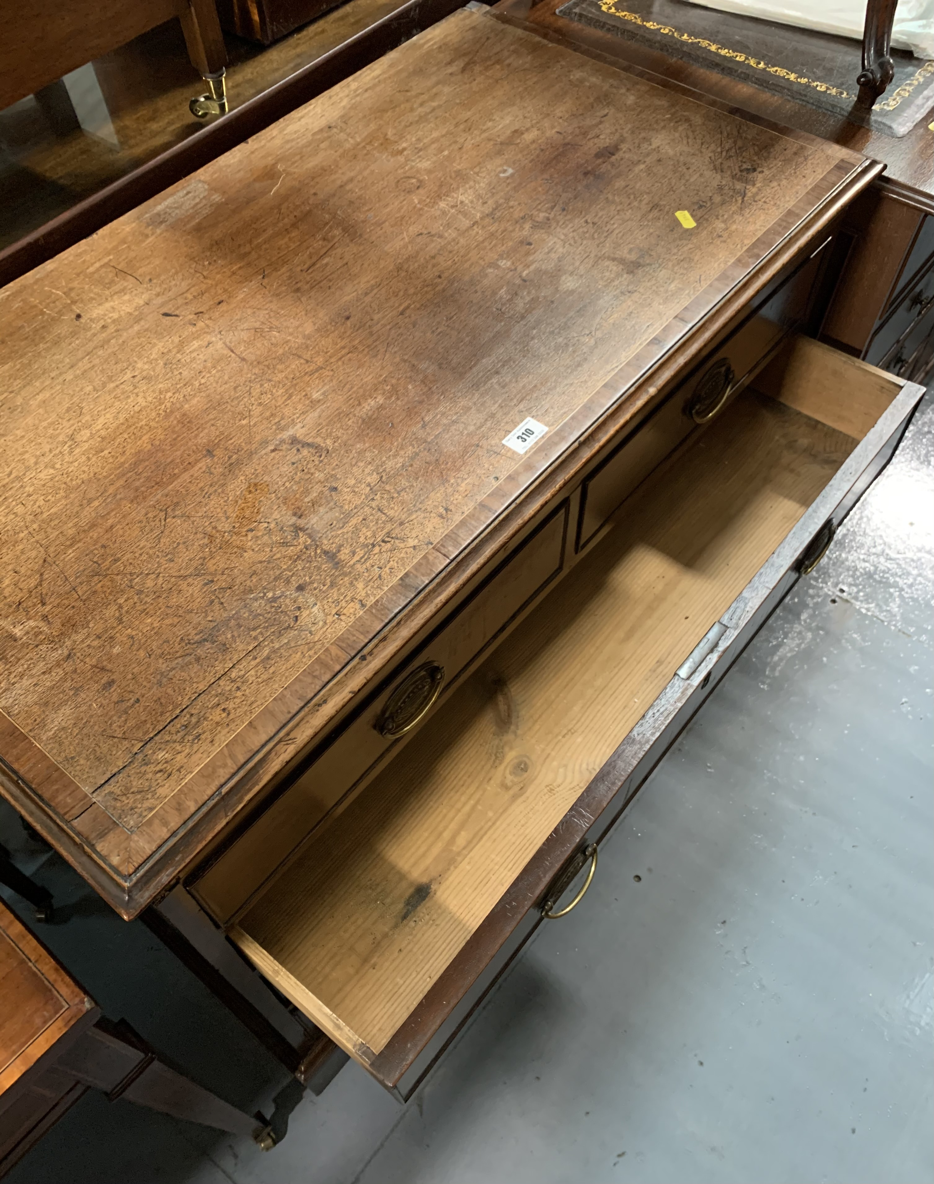 """Antique cross banded chest of drawers (5 drawers). 30.5"""" high, 37.5"""" wide, 20"""" deep - Image 6 of 6"""