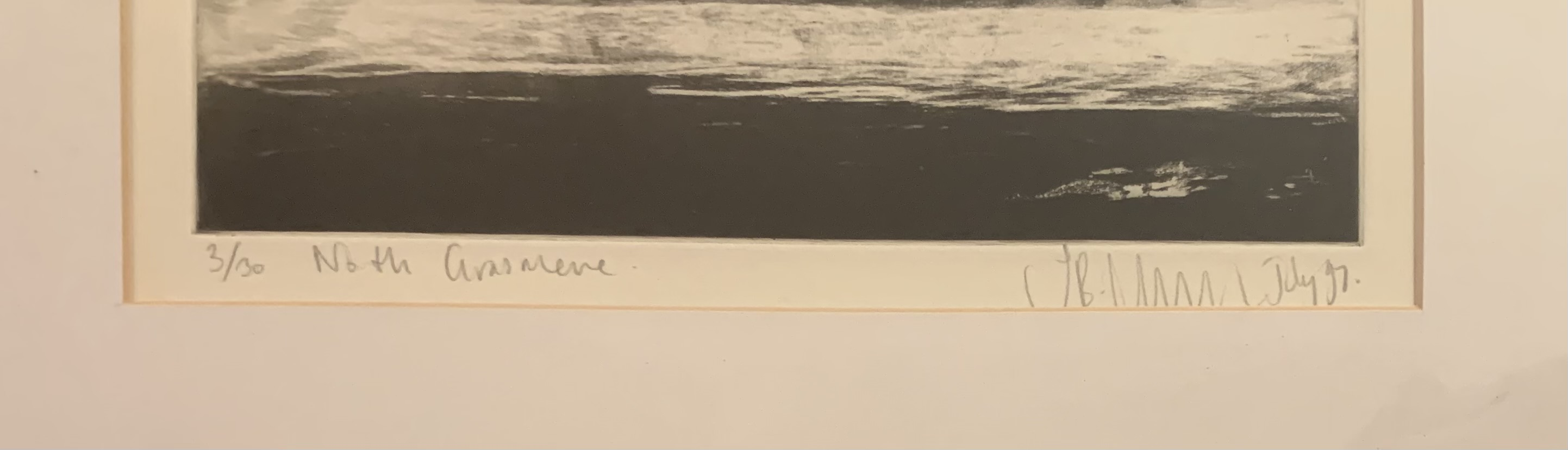 """Signed lithograph 'North Grasmere', no. 3/30. Image 9.5"""" x 7"""", frame 17.5"""" x 13.5"""". Good condition - Image 2 of 3"""