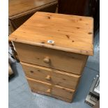 """Pine bedside cabinet with 3 drawers. 19"""" wide, 17"""" deep, 28"""" high"""