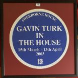 Exhibition print 'Gavin Turk in the House, Sherborne House, 15th March – 13th April 2003'. Signed