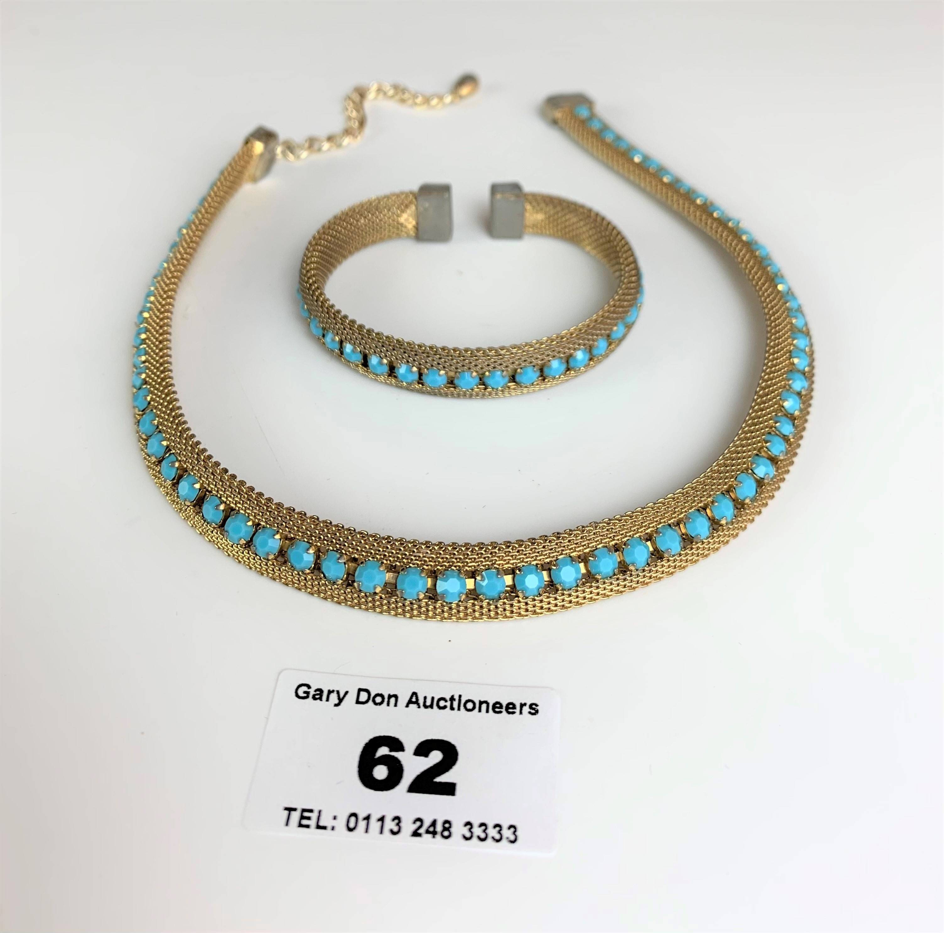"""Dress choker style necklace and matching bangle with turquoise colour stones. Necklace 13"""" long,"""