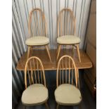 """Blond Ercol dining table and 4 chairs. Table 60"""" long, 30"""" wide, 28"""" high"""