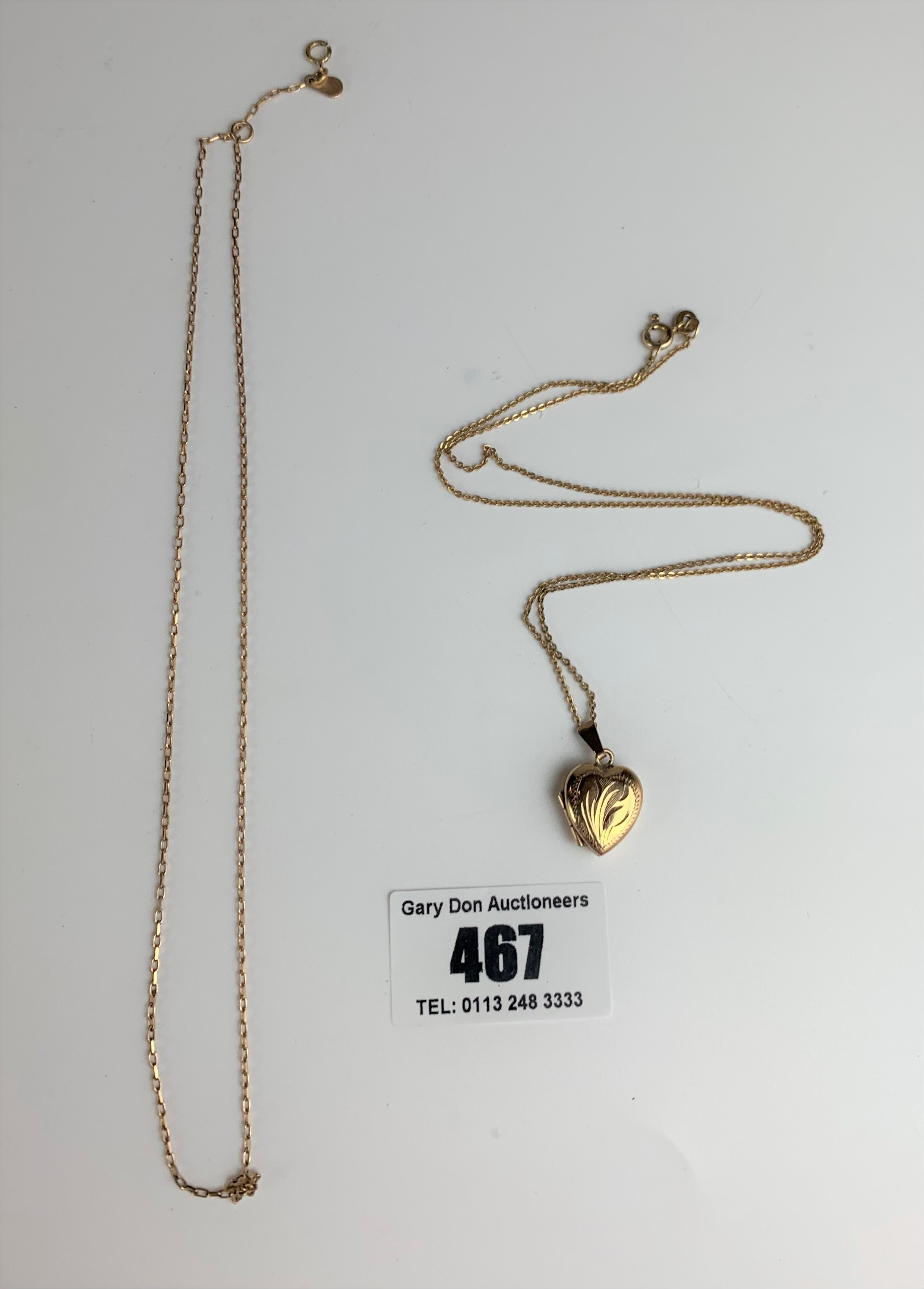 """9k gold necklace with heart locket, length 16"""" plus 1"""" locket, and 9k gold necklace, 15"""" length."""