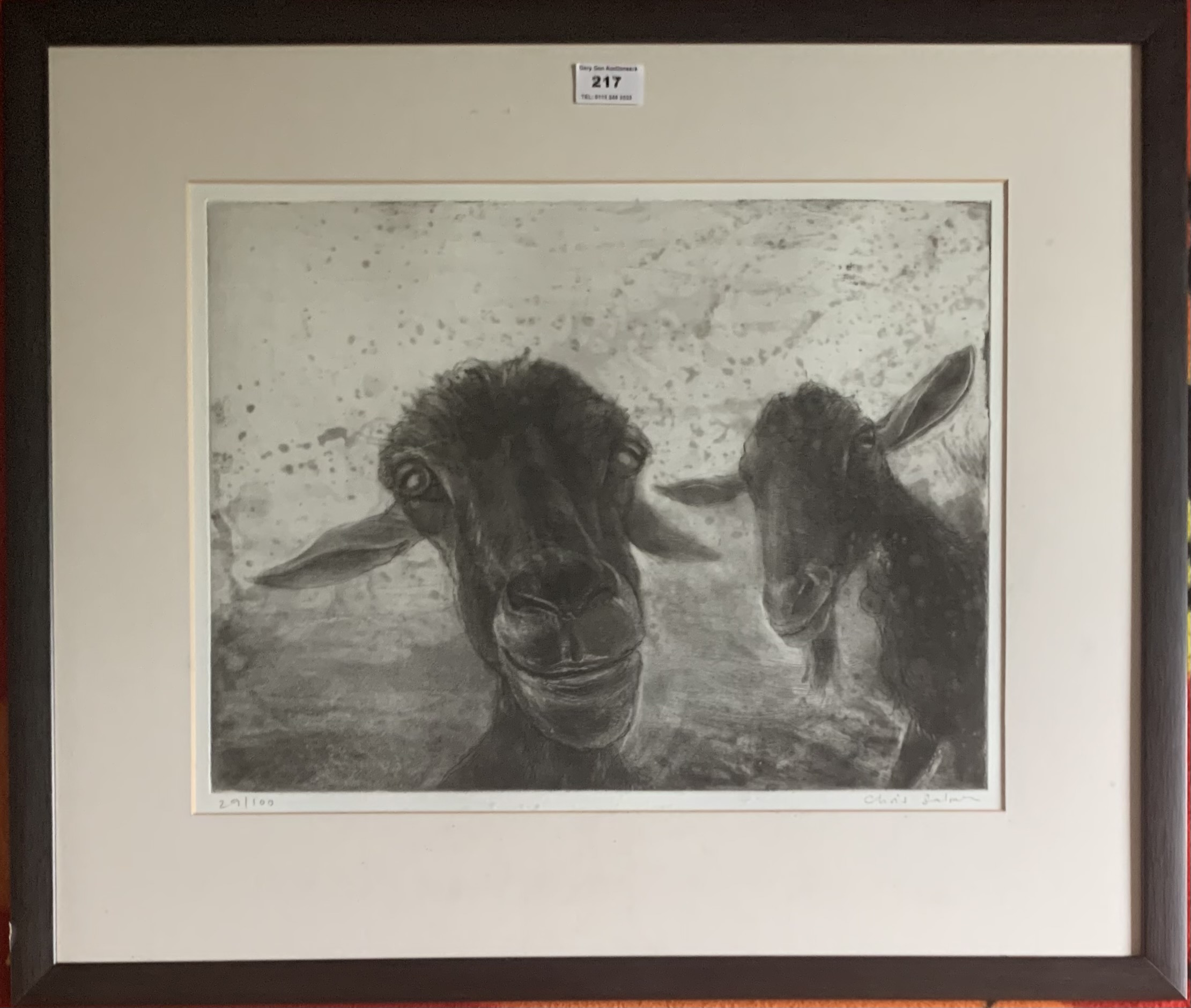 """Chris Salmon limited edition print, Goats, signed and numbered 29/100. Image 16"""" x 12"""", frame 24"""""""