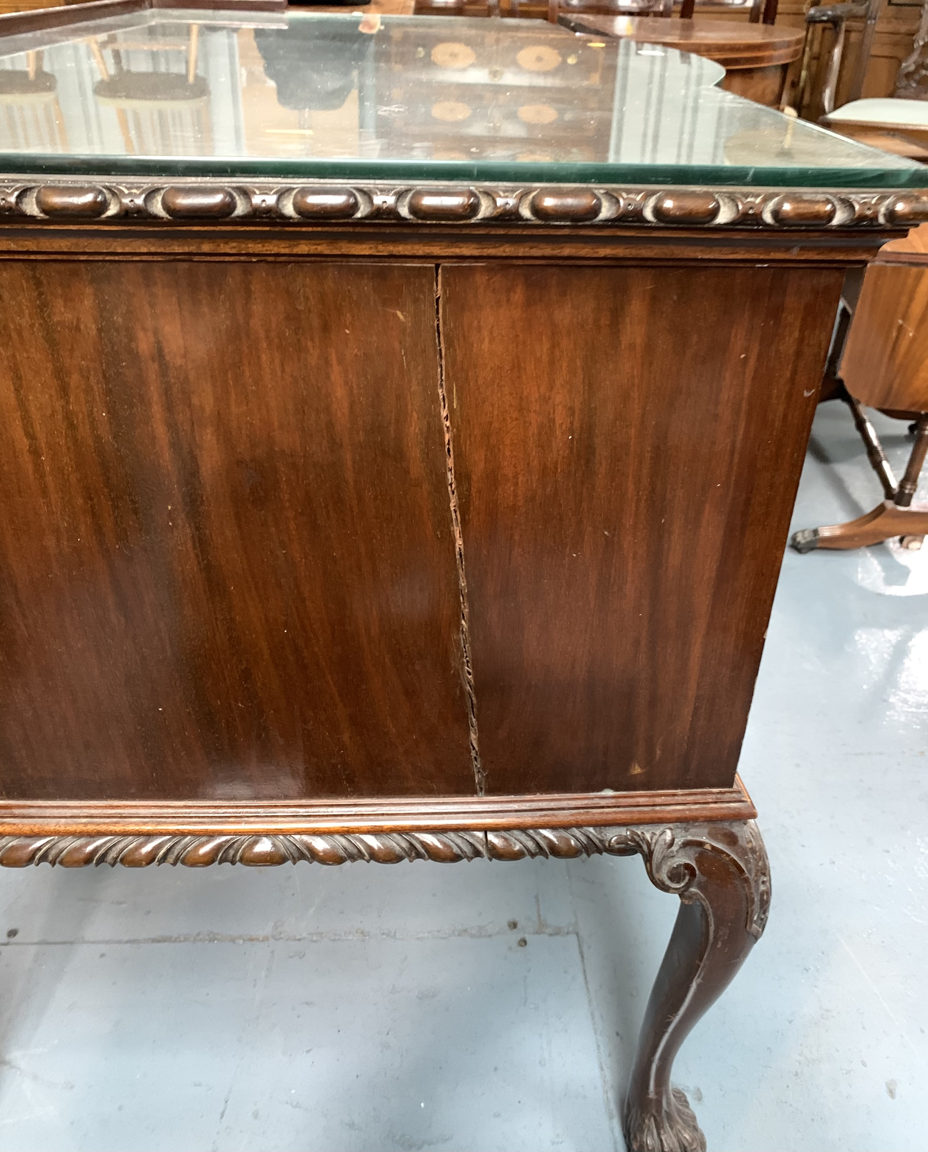 """Bow fronted claw/ball foot sideboard with glass top and 5 drawers 50"""" wide, 26"""" deep, 31"""" high - Image 3 of 6"""