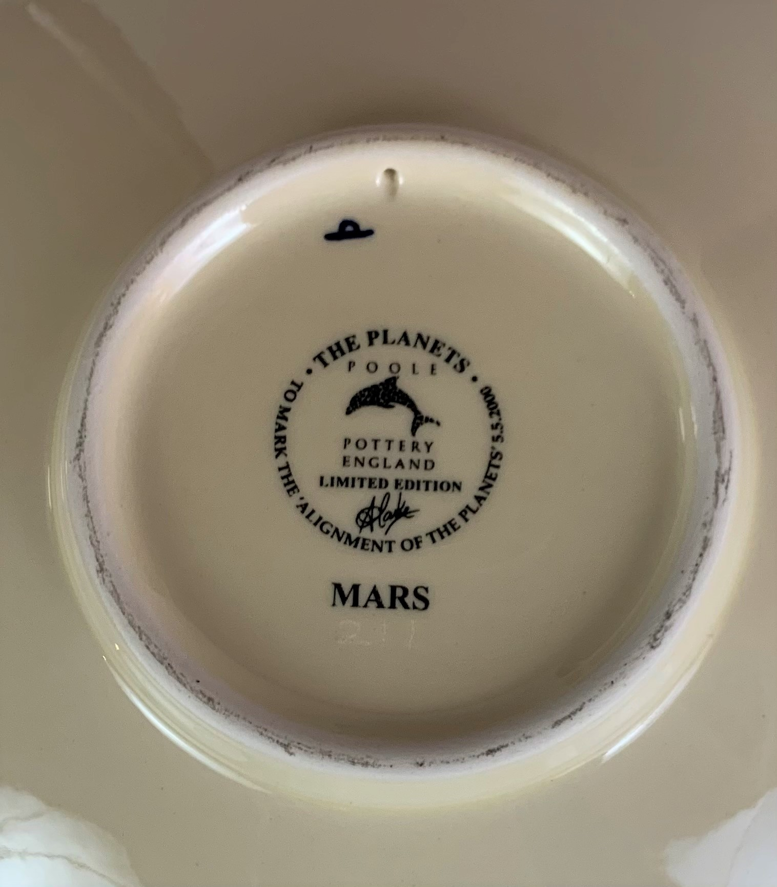 """Limited edition Poole plate, Mars, to mark the Alignment of the Planets 2000, 10.5"""" diameter, no - Image 7 of 7"""