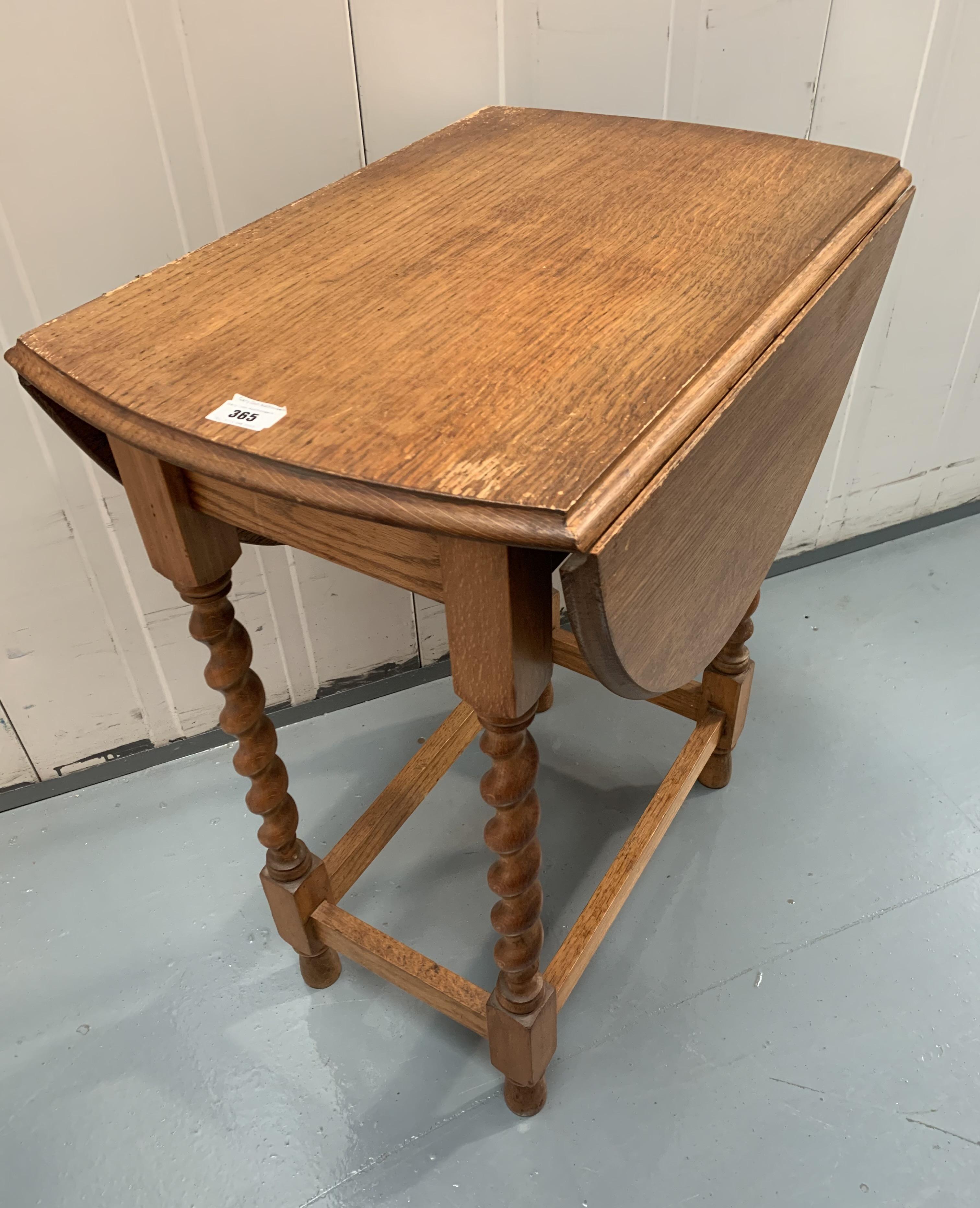 """Oak dropleaf twistleg gateleg table, 36""""open, 16"""" closed, 24"""" wide, 28"""" high"""