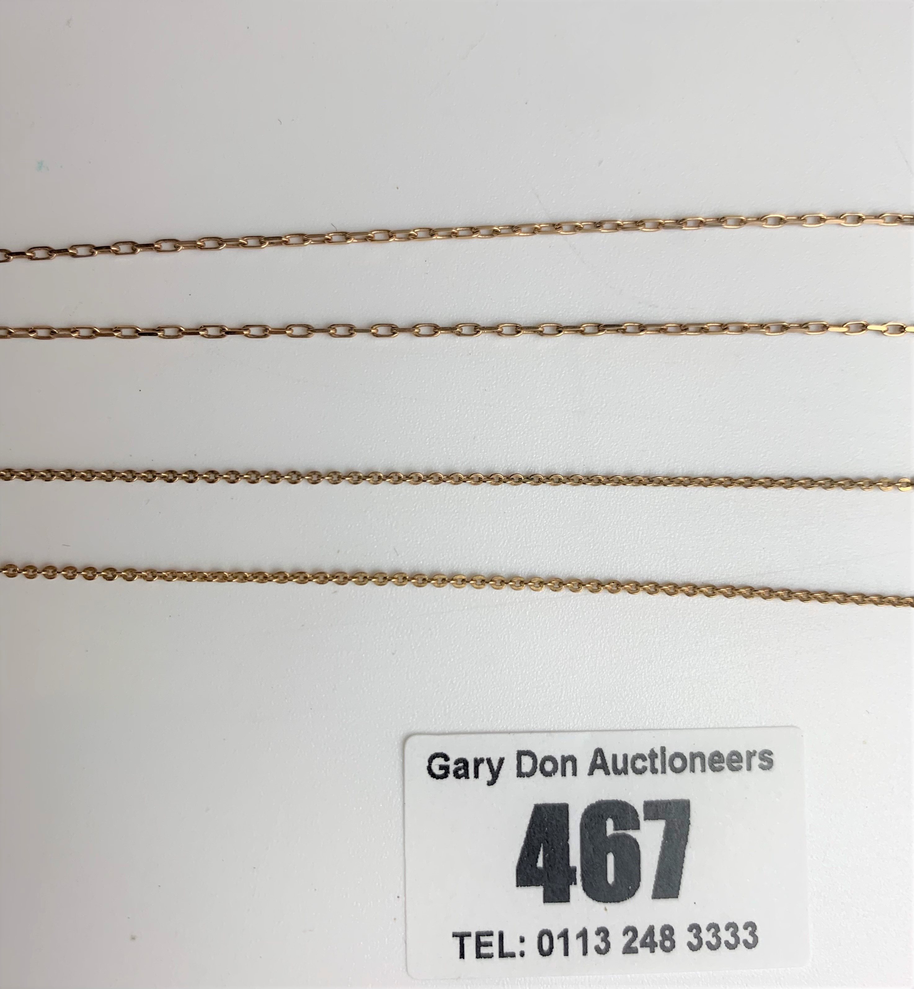 """9k gold necklace with heart locket, length 16"""" plus 1"""" locket, and 9k gold necklace, 15"""" length. - Image 5 of 5"""