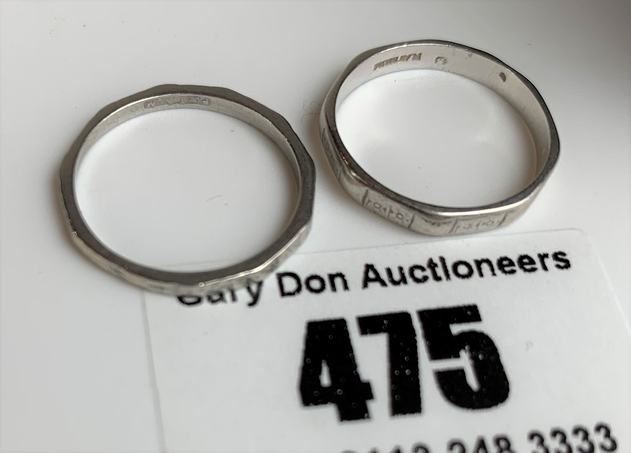 2 platinum wedding bands, sizes L and M, total w: 4.8 gms - Image 6 of 6