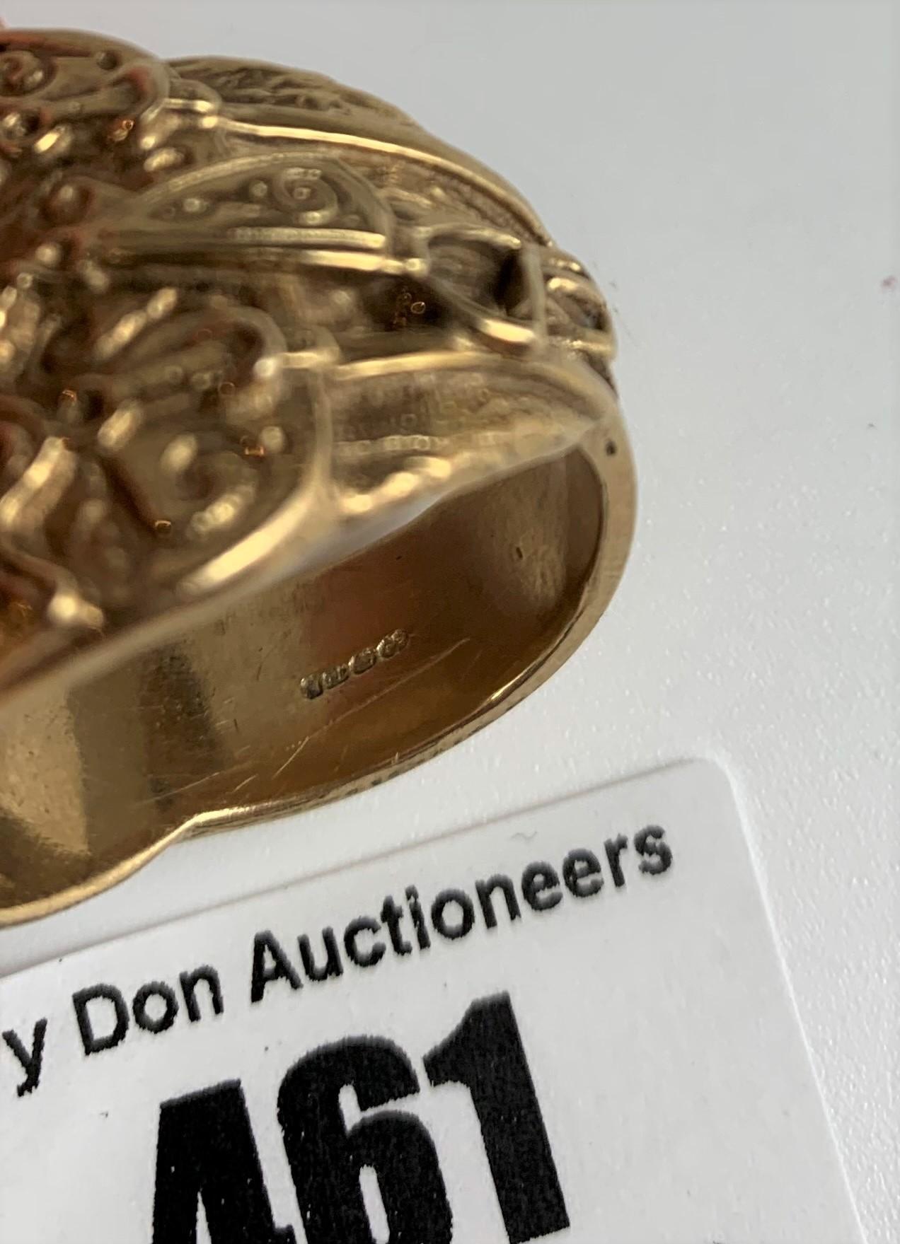 9k gold gents saddle ring, size Z+, w:26 gms - Image 6 of 6