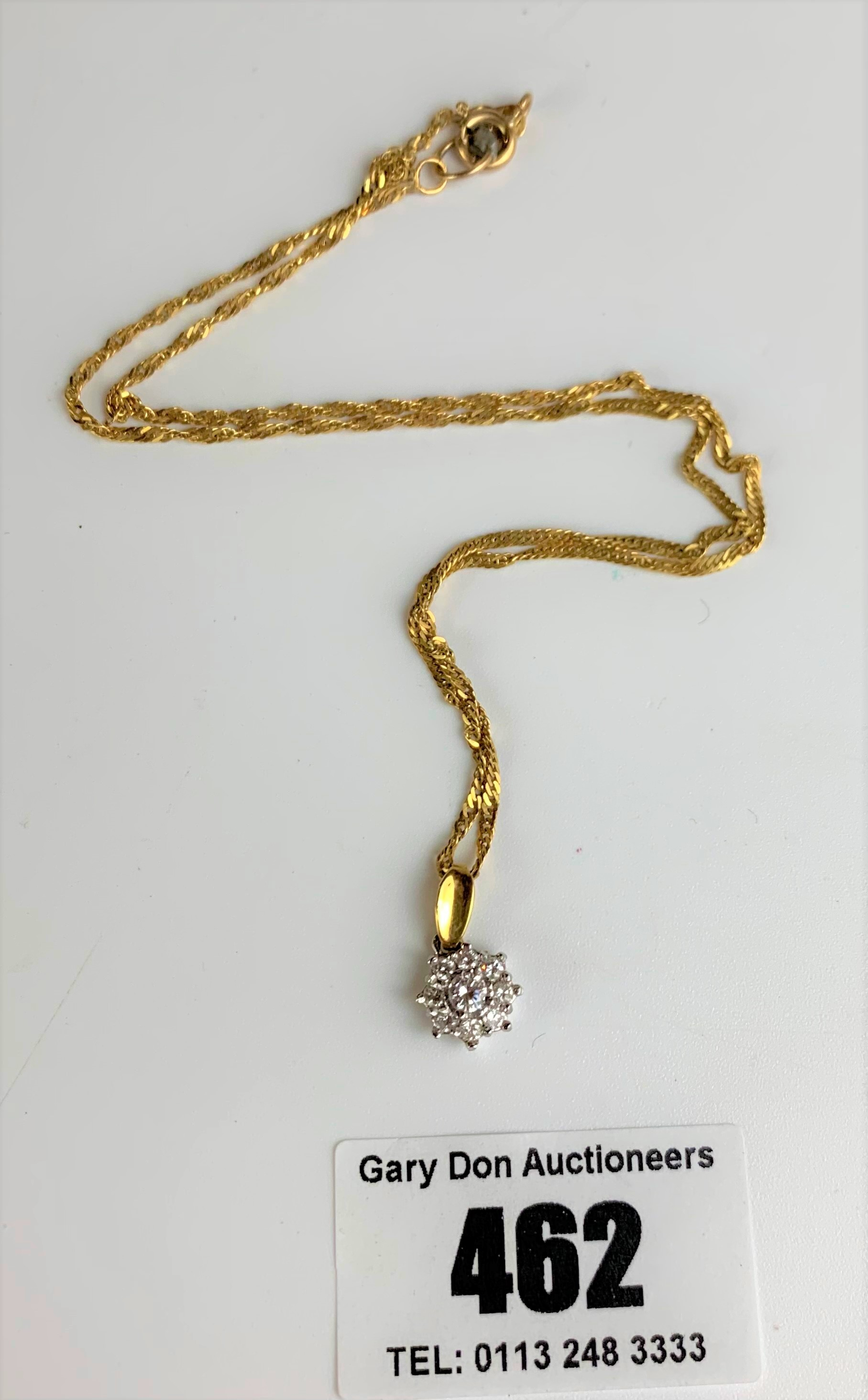 """9k gold necklace, length 15"""" and 18k gold diamond pendant, total w: 3.6 gms"""