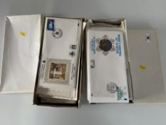 2 white boxes of First Day Covers